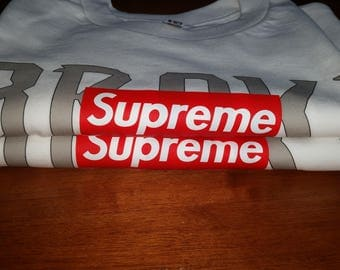 SUPREME Box logo t-shirt Too broke for Hype funny  (s-4XL)