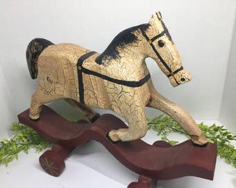 Vintage Reproduction Toy Horse Folk Art Wood Signed G H