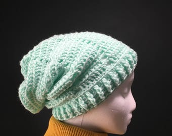 Mint Ribbed Slouchy Beanie for Adults
