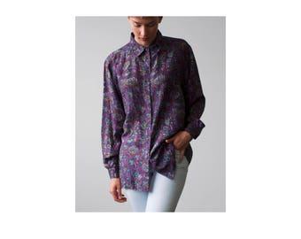 Silk Purple Flower/Paisley Pattern long sleeve button down blouse