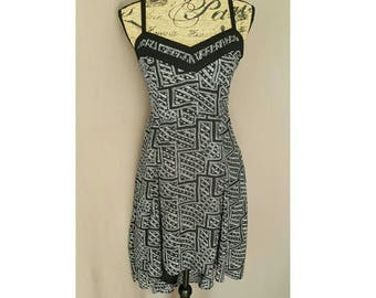 Sale! Vintage Semi-Sheer Black and White High low Dress