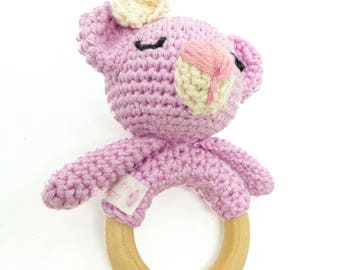 hochet ourson / hochet bébé / hochet crochet / jouet bébé / cadeau naissance / anneau de dentition, cadeau bébé, cadeau hochet