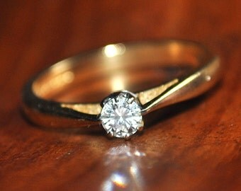 0.20ct Diamond Engagement Ring Valuation 3.050k 18ct gold Size M 3/4 US 6 1/4 3.59 grams UK hallmarks brilliant cut bright stone