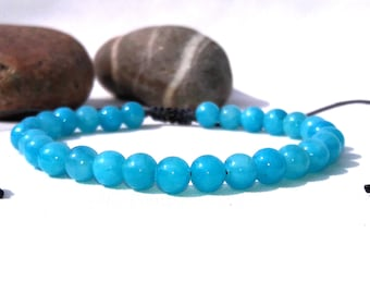 Aquamarine Bracelet Blue Bracelet Unisex Bracelet Crystal Healing Bracelet Minimalist Jewelry mens gift mens bracelet womens gift for her