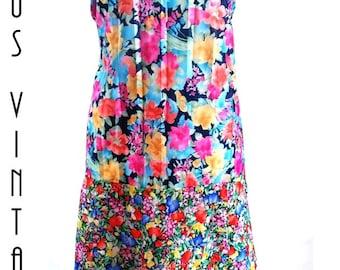 "Plus Size UK 28 1980s Vintage Floral shift Dress Silky Ditsy Sissy  EU 56 US 24 Bust 54"" 137cm"