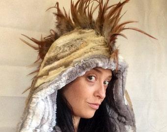 Mohawk hood/ fake fur hood/ feather hood/ warrior hoood/ faux fur/ burning man/ mohawk/ scoodie/ wrap hood/ faux hawk