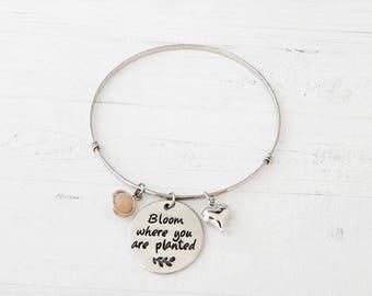 Bloom Where You are Planted Bracelet - Quote Bracelet, Charm Bracelet, Stamped Charm, Silver Bangle Bracelet, Inspirational Jewelry