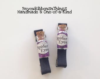Potion Bottles | Spider Eyes | Hair Clips for Girls | Toddler Barrette | Kids Hair Accessories | Grosgrain Ribbon | No Slip Grip | Halloween