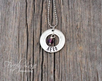 Personalized Pewter Mommy necklace, hand stamped washer with Swarovski crystal birthstone charm