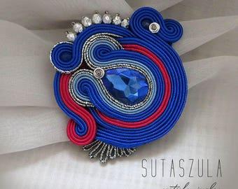 Beauty gift Soutache brooch blue hot pink brooch  Embroidered brooch Gift for girlfriend sparkling brooch  elegant retro brooch