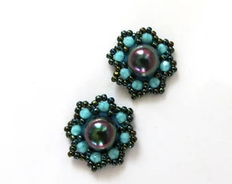 Small Turquoise Earrings Soutache, beaded jewelry, Small green Earrings, soutache earrings, small earrings soutache, green post earrings