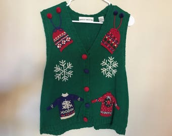 Vintage ugly Christmas vest, Christmas sweater vest, ugly sweater vest, Christmas sweater, Marisa Christina sweater, ugly Christmas vest
