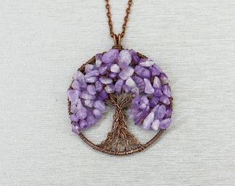 Tree-of-life necklace Tree-of-life pendant Amethyst necklace Amethyst jewelry Healing crystal and stone Anniversary gift for wife gift women