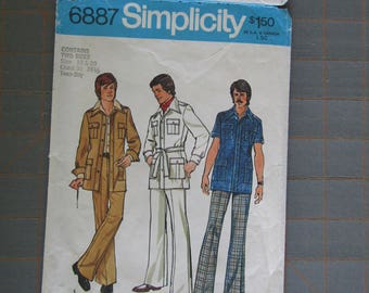 1975 Simplicity 6887 Unlined Jacket and Pants Pattern Teen Boys Size 18 20