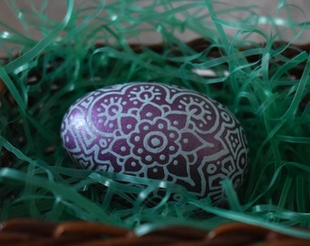Hand painted wooden egg baby blue on metallic violet freehand design