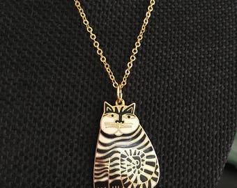Vintage Cloisonne Cat Pendant, Laurel Burch Necklace, Cloisonne Cat Necklaces, Cloisonne, Cat Necklace, Cloisonne Necklace, vintage N324