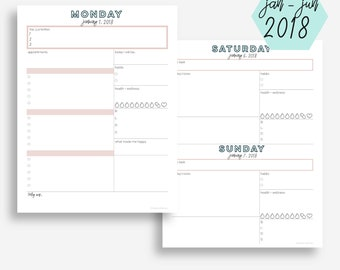 The Daily Planner   January - June 2018   Letter Size   Day Planner   Printable Planner   Goal Planner   Eowyn Collection