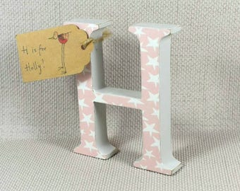 Pink Nursery Letter, Pink Decor, Baby Shower, Gift for Girls, Wooden Letters, Freestanding Letters, Hand Painted Letters