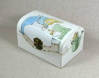 Decoupaged Peter Rabbit Treasure Chest ideal for Baby Shower OOAK gift