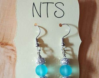 Hand-Crafted Dangle Earring with Silver/Blue Glass Beads- Nickel free
