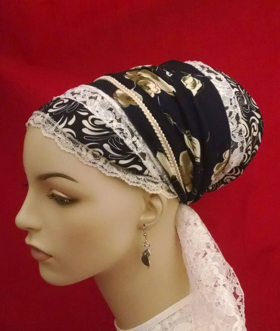 Exquisite navy floral sinar tichel, tichels, head scarves, chemo scarves, head wraps