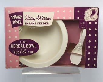 Vintage Tommee Tippee Stay-Warm Infant Cereal Bowl & Original Box 1960's