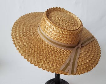Blond straw hat vintage peasant country - 12645