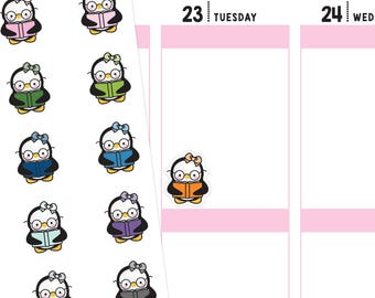 Study Penguins Planner Stickers, Study Stickers, Penguin Stickers, Reading Stickers, Book Stickers