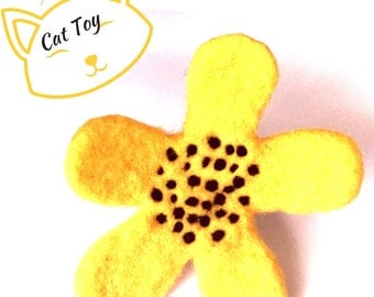 Needle Felted Cat Toy, Sunflower Cat Toy, Catnip Cat Toy, Cat Things, Cat Stuff, Collectors Sculptured Sunflower, Cat Lovers Gift