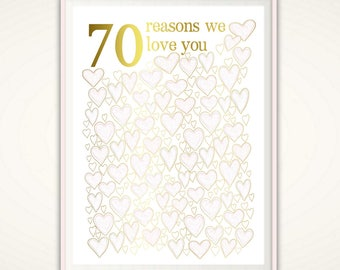 70th Birthday Gift For Mom - PRINTABLE Gold and PINK 70th Birthday Ideas, Party Decorations, Poster, Guest Book Alternative, For Women, DIY