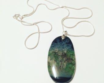 Unique Landscape Agate Geode Pendant Necklace