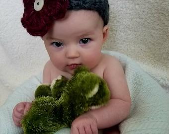 Baby Crochet Headband, Infant Bow, Flower Head Wrap, Baby Shower Gift