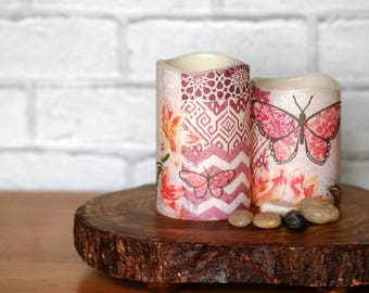 Pink Butterfly Candle Gift Set, Set of 2 Pink Butterfly LED Candles, Mothers Day Gift For Her, Pink Butterfly Home Decor