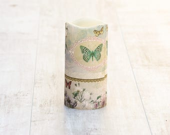 Decorative LED Candle with Butterfly Design on Floral Background, Gift for Mother, Gift for Grandmother, Butterfly Gift, Flameless Candle