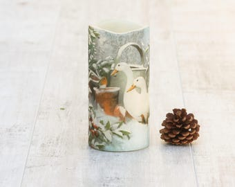 White Geese and Red Robin Pillar Candle, Winter Home Decor, LED Flameless Candle with Geese Print, Nature Lovers Gift For Her