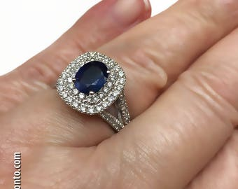 2.74 CTW 14K White Gold, Ceylon Blue Sapphire & Double Halo Split Shank Ring. BRAND NEW for your Valentine!