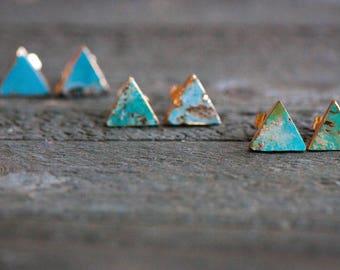 Turquoise Studs,Turquoise Stud Earrings,Blue Studs,Turquoise Jewelry,Genuine Turquoise Studs,Triangle Stud Earrings,Gemstone stud earrings