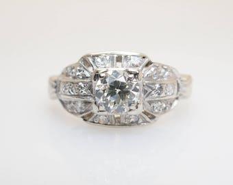 Vintage Art Deco Old European Cut Diamond Engagement Ring .63CTW