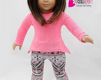 American made Girl Doll Clothes, 18 inch Doll Clothing, Neon Pink Asymmetrical Top with Leggings made to fit like American Girl Doll Clothes