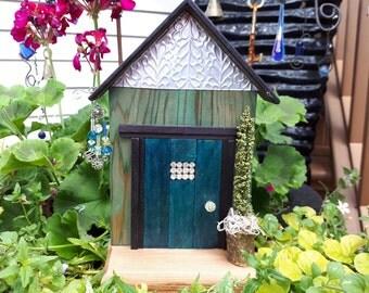 Teal Blue Fairy Door with Rhinestone Window & Matching Crystal Fairy Windchime