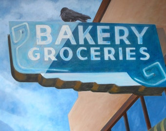 Bakery, San Juan Batista, Bird, Crow, Raven, Donut