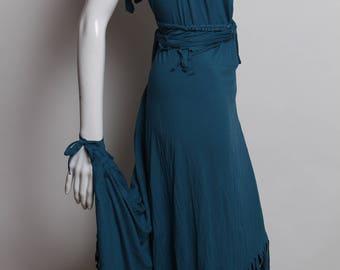 teal dress, long halter dress, maxi dress, cowl neck, long maxi dress, fringe dress, burning man, maxi, open back dress, festival, backless