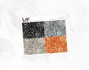 Spooky Glitter Headers | Matte Glossy Planner Stickers