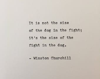 Winston Churchill quote hand typed on antique typewriter