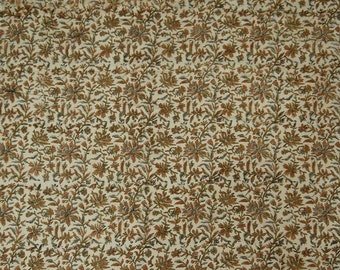 """Indian Fabric Material, Floral Hand Block Print, Craft Fabric, Beige Fabric, 45"""" Inch Cotton Fabric By The Yard ZBC8191A"""