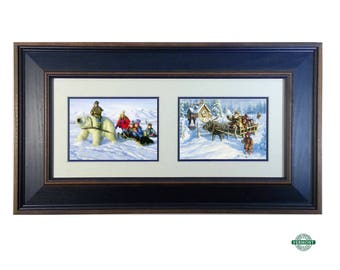 "Set of 2, Christmas Art by Robert Duncan ""Visitor from Up North"" & ""Way Up North"" St Nick, Boy Riding Polar Bear, Santa, Sleigh, Snow Scene"