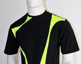 black and neon green short sleeve t-shirt