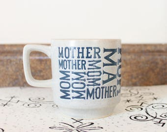 Cobalt Blue and Grey Stoneware Coffee Mug for Mom . Typography Graphic Design 1980s 80s 1990s 90s Stem Stacking Cup