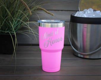 30 oz Engraved Tumbler, Custom Tumbler, YETI like, Stainless steel Mug, Vacuum Insulated Mug, Personalized Tumbler--pc30-p-MaidOfHonor