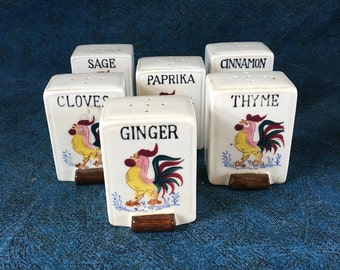 Vintage Spice Jars with Roosters, Made in Japan, Mid Century Kitchen, Country Kitchen Spice Bottles